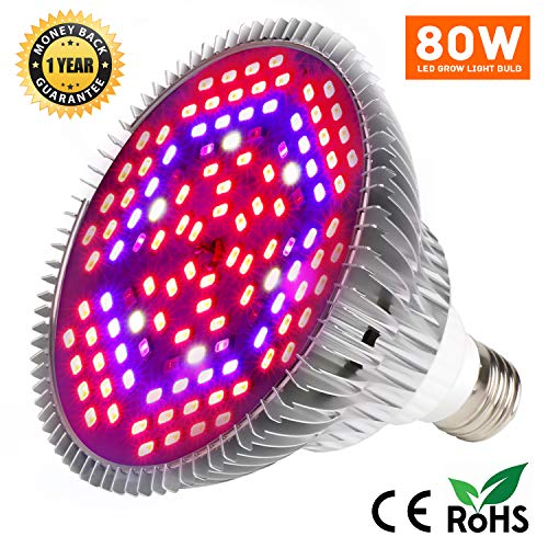 80W LED Grow Light Bulb for Indoor Plants, Grow Bulbs Full Spectrum Grow Lights for Growing Plants Lamp, Vegetables and Flowers, Plant Growing Lights Bulbs for Hydroponics Greenhouses Gardening For Sale