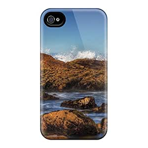 Hot QKi10OSYT Beautiful Waves Smashing Rocky Shore Tpu Case Cover Compatible With Iphone 4/4s