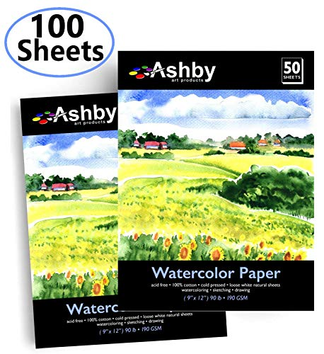 (Ashby 100 Sheets of Watercolor Paper (9