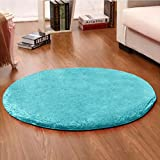 """Silk Woollen Washable Princess Dream Round Shaggy Area Rugs and Carpet Super Soft Bedroom Living Room for Kids Play , for Yoga, for Dancing Round 47.2"""" (Blue)"""