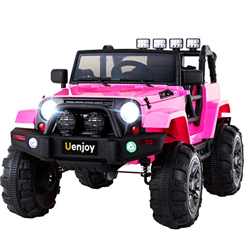 (Uenjoy Ride on Car 12V Battery Power Children's Electric Cars Motorized Cars for Kids with Wheels Suspension,Remote Control, 4 Speeds, Head Lights,Music,Bluetooth Remote Controller,Pink)