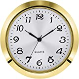 Hicarer 2-1/8 Inch (55 mm) Quartz Clock Insert, Zinc-alloy Metal Case, Arabic Numeral, White Face (Gold)