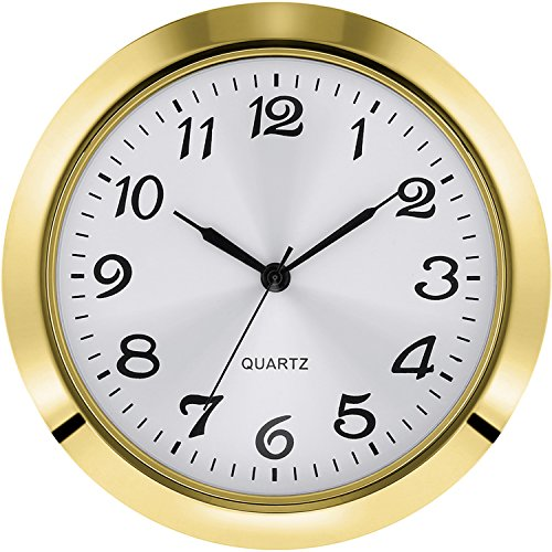 Hicarer 2-1/8 Inch (55 mm) Quartz Clock Insert, Zinc-Alloy Metal Case, Arabic Numeral, White Face (Gold)