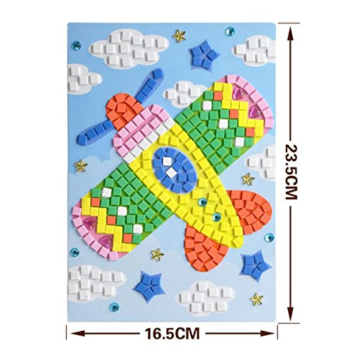 ZZL Mosaic Sticker Art Kits for Kids Animals Butterfly sailing Hot air balloon plane sunflower Sika deer