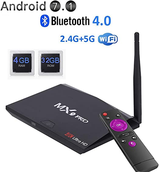 TV Box Android 9.0, MX9 Pro 4GB DDR3 + 32GB EMCC Reproductor Multimedia,RK3328 Quad-Core de 64 bits WiFi 2.4G USB 3.0, BT 4.0 4K Ultra HD, Caja de TV Inteligente con Antena: