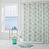 Oversized Shower Curtain Five Queens Court Caribbean Reef Ombre Print Coastal Oversized Shower Curtain, Aqua