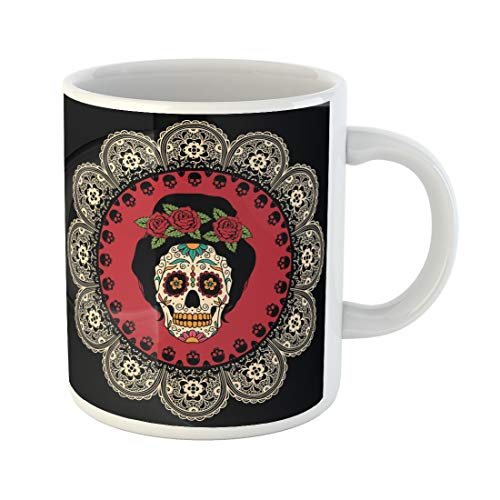 Semtomn Funny Coffee Mug Yellow Day Mexican Skull Girl Dead Tattoo Catrina Sugar 11 Oz Ceramic Coffee Mugs Tea Cup Best Gift Or Souvenir