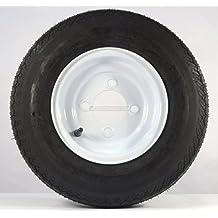 "Two Trailer Tires & Rims 4.80-8 480-8 4.80 X 8 8"" B 4 Lug Hole Bolt Wheel White"
