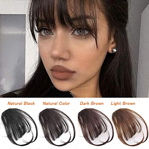 Clip In Air Bangs Natural Real Human Hair Full Front Neat Air Fringe Hand Tied Straight Flat Bangs on Extensions With Temples for Women(1B)