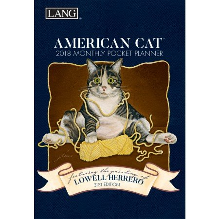 "LANG - 2018 Monthly Pocket Planner - ""American Cat"" - Artwork By Lowell Herrero - 13 Month - January to January - Portable 4.5"" x 6.5"""