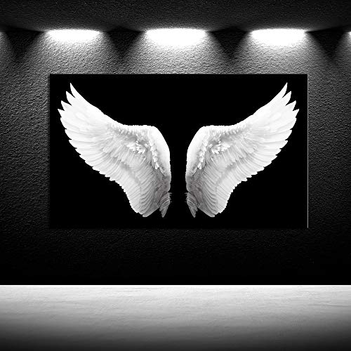 iKNOW FOTO Large Black and White Canvas Prints Angel Wings Wall Art Contemporary Art Painting for Living Room Picture Framed Art Work for Walls Home Decoration Ready to Hang Gift 24x40inch -