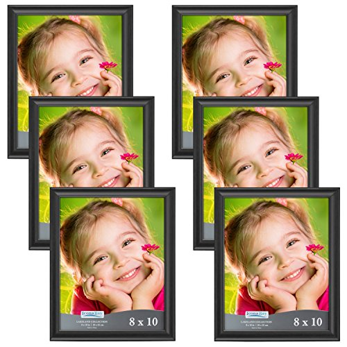 Icona Bay 8x10 Picture Frame (6 Pack, Black), Black Photo Frame 8 x 10, Composite Wood Frame for Walls or Tables, Set of 6 Lakeland Collection