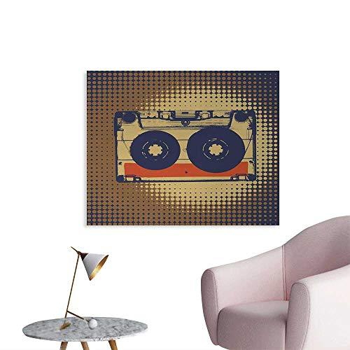 Tudouhoho 70s Party Cool Poster Audiocassette Retro Music Theme Pop Art Vintage Obsolete Happy Vibes Photo Wall Paper Night Blue Tan Orange W48 xL32