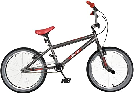 XN-11 Bicicleta BMX de 20 Pulgadas para niños, Velocidad única, 25 – 9 T, 2 Clavijas para Acrobacias – Gris/Rojo: Amazon.es: Deportes y aire libre