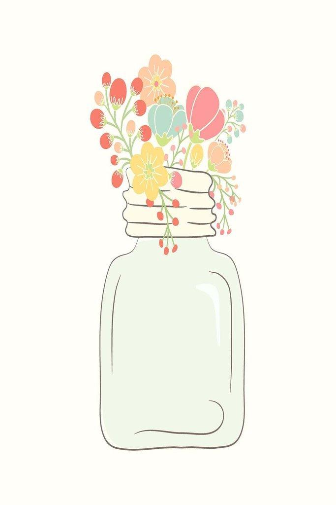 国Mason Jar with花額なしビニールアート印刷 – Perfect for室内/室外。全天候型。 36X48 VINYL03523648 B076DLPZYW   36X48