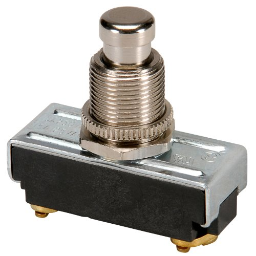 NTE Electronics 54-650 Pushbutton Switch, Single Pole, SPST Circuit, ON-(OFF) Action, Brass/Nickel Plate Actuator, Screw Terminals, 10 Amp, 250V ()