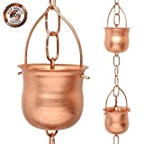 japanese rain - Rain Chain Copper To Replace Gutter Downspouts With Decorative Chimes And Cups, 8.5 Feet