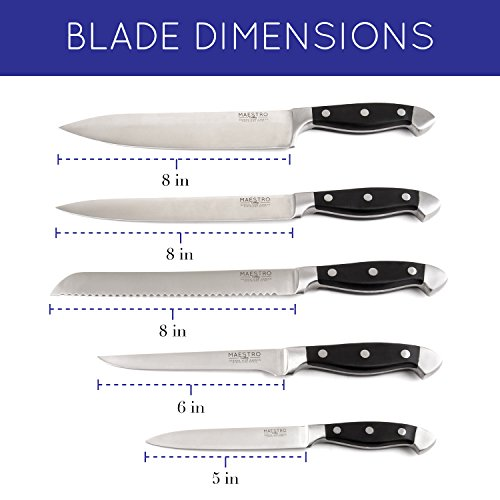 Maestro Cutlery Volken Series German High Carbon Stainless Steel Professional Knifes – 15 Piece Knife Set by Maestro (Image #2)