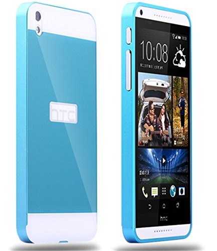 DAYJOY Luxury Ultra Thin Aluminum Alloy Protective Metal Bumper Frame Case with Acrylic PC Back Cover Shell+ 1PC tempered glass protector film for HTC DESIRE 816(BLUE)