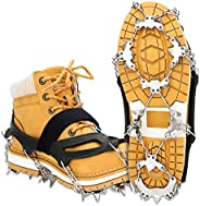 EIVOTOR 【Upgraded 24 Spikes】 Walk Traction Ice Cleat Spikes Crampons,Ice Snow Grips for Footwear for Walking,