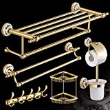 Fine copper antique shelf, bathroom, luxury bathroom hardware pendant set, golden bath towel rack six sets,B
