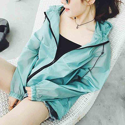 QFFL fangshaifu 女性の夏緩い日保護服/学生スリムショートサンプロテクションシャツ/フード付きファッションサンスクリーンショール/エアコンシャツ(5色可能) (色 : A)