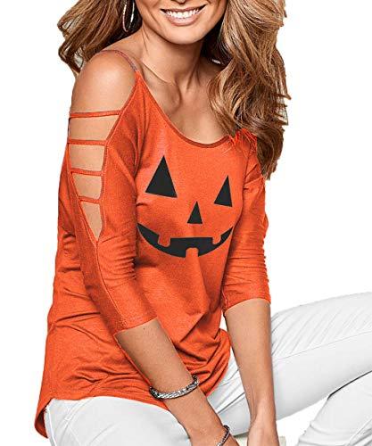 DREAGAL Women's Halloween Printing Tops Summer Lightweight Cold Shoulder Blouse Shirt 3X