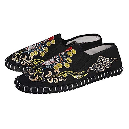 smart 4 Chinese Opera Faces Embroidery Casual Flat Shoes for Men and Women Black