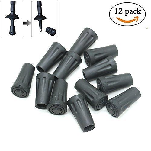 WEFOO 12 Pcs Replacement Rubber Tip Protector Flex Walk Tip - Fits All Standard Hiking, Trekking, Walking Poles,Black