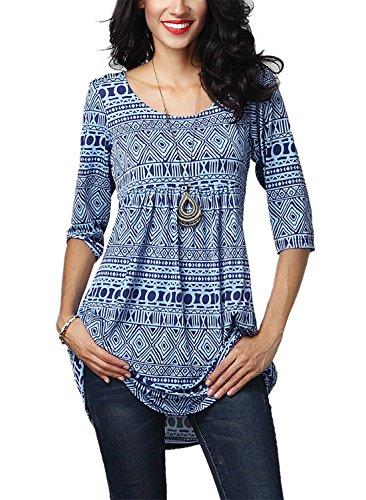 Destinas Women's 3/4 Sleeve Geometric Floral Print Tunic Blouse Tops Shirts M Blue