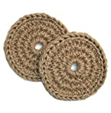 2 Exfoliant Pads, Hand Crocheted Jute Bath or Shower Scrubber for Feet, Elbows