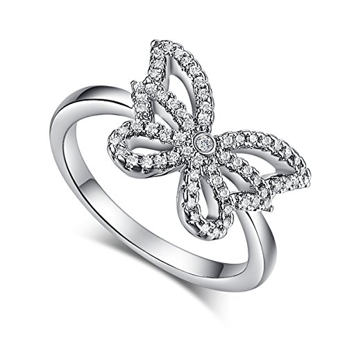 Psiroy 925 Sterling Silver Created White Topaz Filled Butterfly Ring Girls