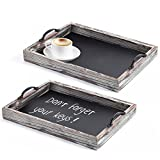 MyGift Rustic Style Wood Chalkboard Surface Nesting Breakfast Serving Trays with Decorative Handles, Set of 2