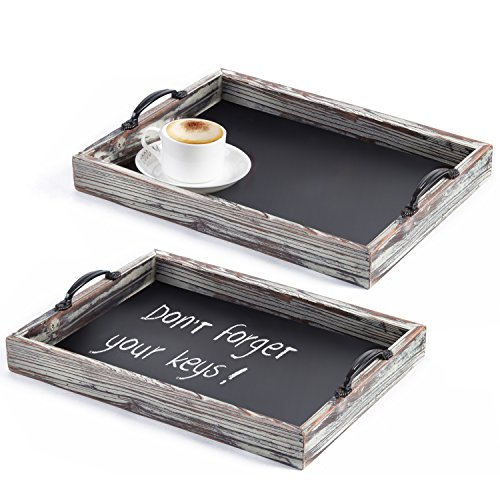 Rustic Style Wood Chalkboard Surface Nesting Breakfast Serving Trays with Decorative Handles, Set of 2 (Serving Breakfast Tray)