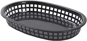 9.3 x 9.3 Inch Fast Food Baskets, 10 Oval Deli Baskets - Microwave Safe, Dishwasher Safe, Black Plastic Serving Baskets, For Burgers, Fries, Sandwiches, And More - Restaurantware