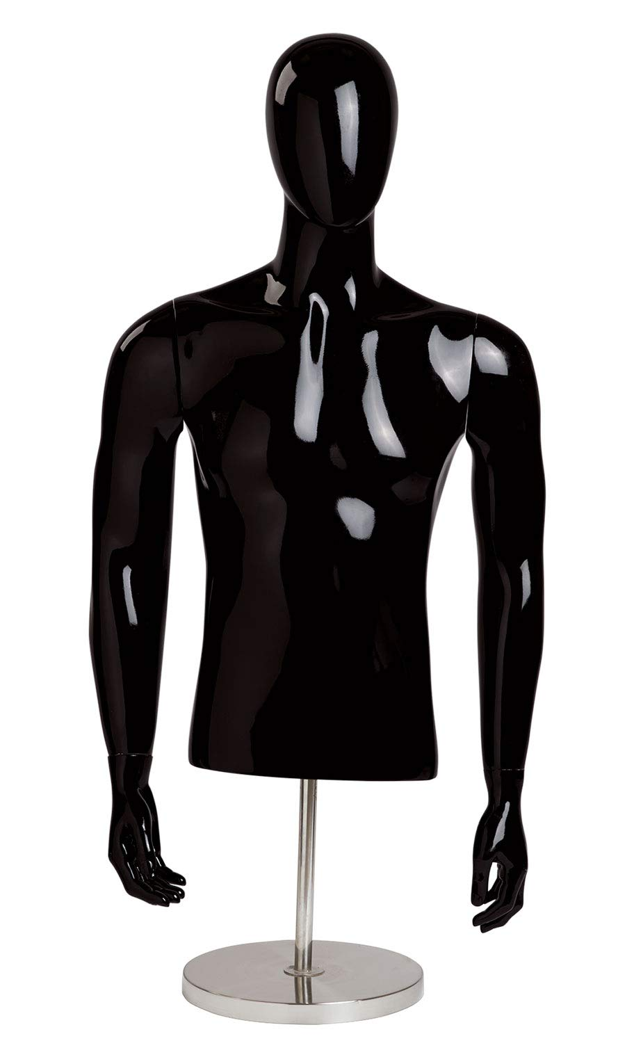 Male Glossy Black ½ Body Mannequin - with Base - 54''''H