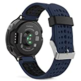 Garmin Forerunner 235 Watch Band, MoKo Soft Silicone Replacement Watch Band for Garmin Forerunner 235 / 220 / 230 / 620 / 630 / 735 Smart Watch - MIDNIGHT BLUE & BLACK