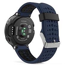 Garmin Forerunner 235 Watch Band, MoKo Soft Silicone Replacement Watch Band for Garmin Forerunner 235 / 220 / 230 / 620 / 630 / 735 Smart Watch - MIDNIGHT BLUE & BLACK