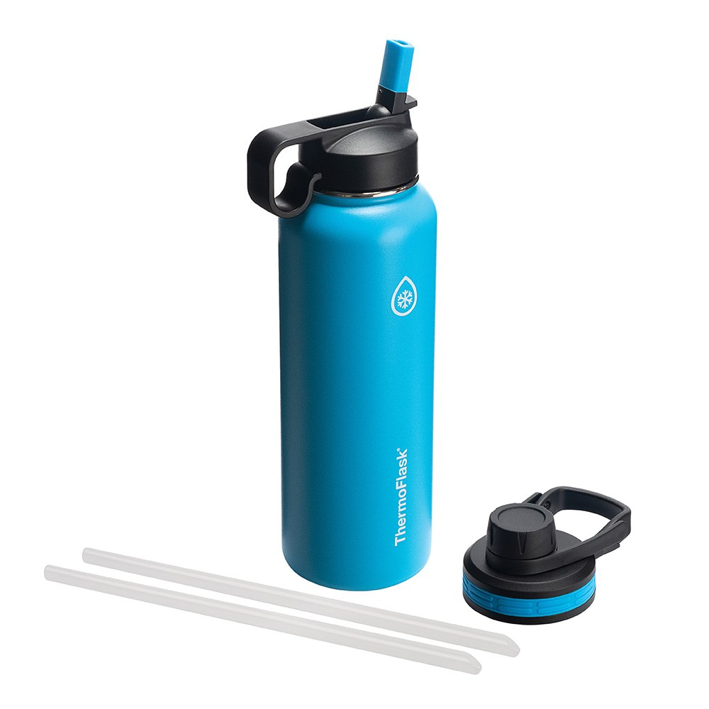 Thermoflask 50062 Bottle with Chug and Straw Lid, 40 oz, Capri