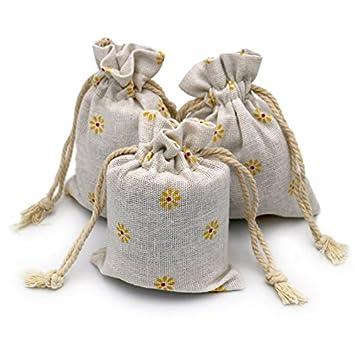 Desconocido 20 pcs Chic algodón Yute cordón Bolsas Bolsas de Regalo Boda Favor Bolsas de joyería 3,5