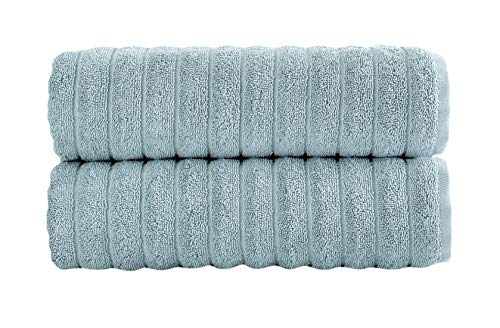 Luxury Bath Towel Collection Set – Combed Cotton Hotel and Spa Quality Bath Towels – Made with 100% Turkish Cotton Jacquard Rib Style – Made in Turkey (27X54 Bath Towels, Spa Blue)