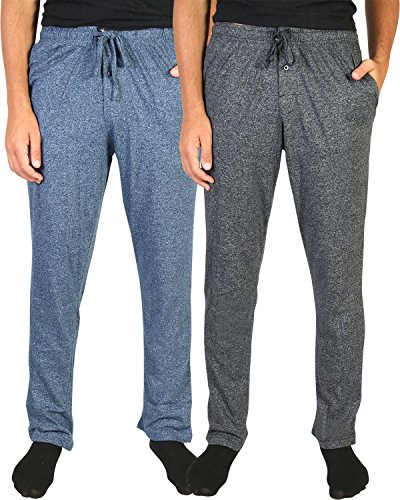Beverly Hills Polo Club Men\'s Soft Touch Pajama Lounge Sleep Pants (2 Pack), Black/Navy, Large (Cotton Knit Lounge Pants Loungewear)