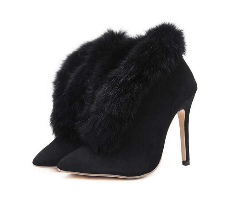 Mujeres 12 cm Stiletto punta estrecha Plush V Botines Martin Boots Pure Color encantador vestido Boots OL Court Boots Eu Tamaño 34-40 ( Color : Black , Size : 39 ) 39|Black