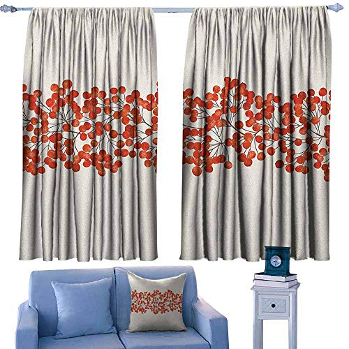 Decor Curtains,Rowan Border with Wild Red Mountain Ashes on Twigs Hand Painted Natural Artwork Print,for Patio/Front Porch,W72x72L Inches Orange and Pearl ()