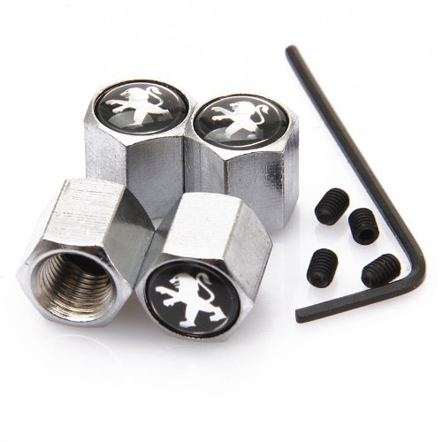 Black Peugeot Anti-theft Chrome Car Wheel Tire Valve Stem Caps
