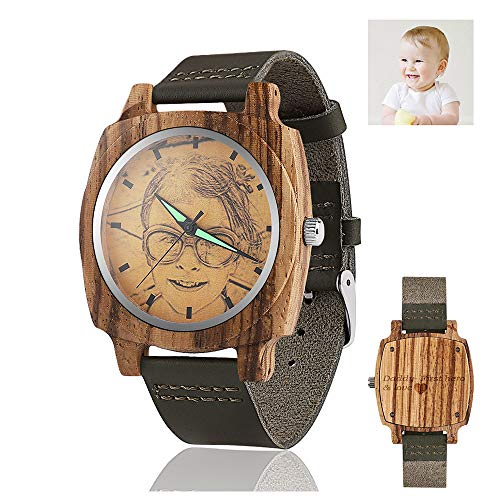 - Men's Personalized Wooden Photo Watch and Text Engraved on The Watch Back Light Green Leather Strap Customized Couple Watches (40MM, Light Green 2)