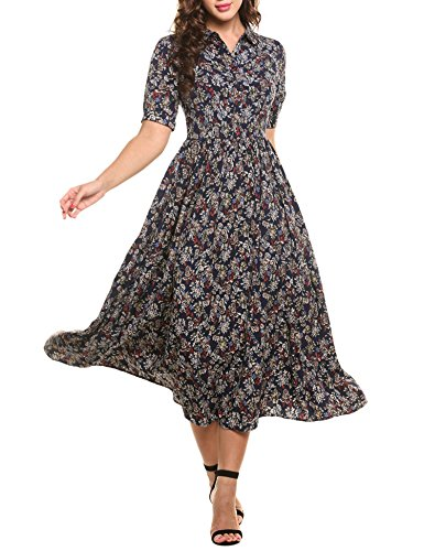 ACEVOG Women's Vintage Style Short Sleeve Floral Print Long Maxi Dress