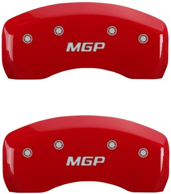MGP Caliper Covers 22207SMGPRD MGP Engraved Caliper Cover with Red Powder Coat Finish and Silver Characters, Set of 4