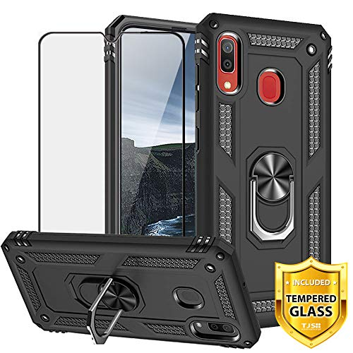 TJS Case Compatible for Samsung Galaxy A20/A30 2019, [Full Coverage Tempered Glass Screen Protector][Impact Resistant][Defender][Metal Ring][Magnetic][Support] Heavy Duty Armor Phone Cover (Black)