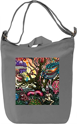 Psychedelic Print Borsa Giornaliera Canvas Canvas Day Bag| 100% Premium Cotton Canvas| DTG Printing|